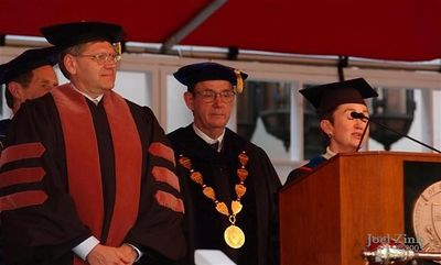 Robert Zemeckis, Doctor of Fine Arts; Steven B. Sample, 10th President of the University of Southern California; Elizabeth M. Daley, Ph.D., Dean of the School of Cinema