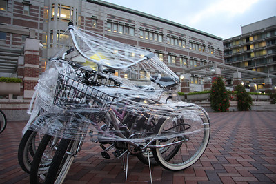 The Skull and Dagger Society, the oldest all-University honorary organization at the University of Southern California, today announced its new student members for 2008. The prank this year consisted of thousands of feed of industrial shrink wrap and covering almost every bike and bike rack on campus.