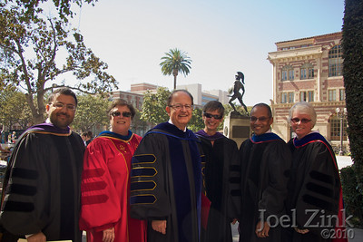 President C. L. Max Nikias (third from left) gets ready with procession delegates for the USC New Student Convocation. From left to right, President Nikias is with Dean of Religous Life Varun Soni, Vice President of Admission and Planning Katharine Harrington, Interim Senior Vice President for Academic Affairs and Provost Elizabeth Garrett, Vice President for Student Affairs Michael Jackson, and Vice Provost for Academic Affairs and Graduate Programs Jean Morrison.