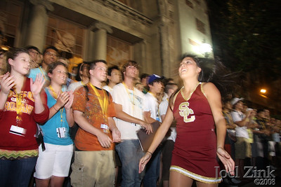 Part of USC Orientation, the Trojan Marching Band plays for the orientation attendees on the steps of PED on 7.17.2008