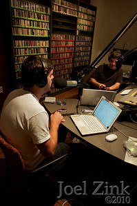 """The Lucas and Garrett Show"" with DJs Lucas Noble a senior in Political Science (white shirt) and Garrett Shakstad a senior in Accounting (black shirt) host their show which they describe as ""Righteous jams and pop culture discussions"" Tuesdays from 4-6 PM on KXSC"