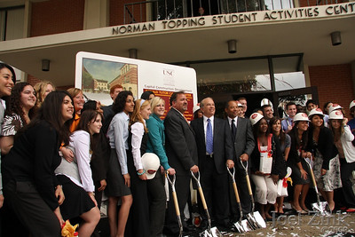 Ronald Tutor Campus Center groundbreaking behind the Norman Topping Student Services building on 5/6/2008.