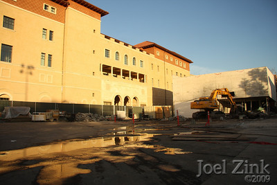 1/19/09 - The newly completed cinema building and Schoenberg Institute being razed to make room for new School of Cinematic Arts buildings
