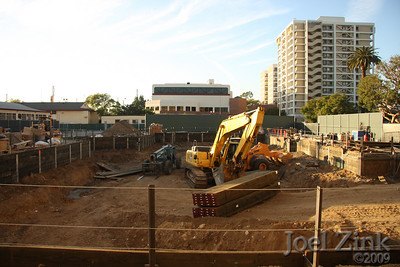 1/19/09 - Excavation begins on the site of the former Facilities Management Services lot for a new School of Cinematic Arts building