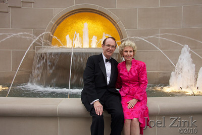7/10/2010 - USC President Steven B. Sample and his wife Kathryn in front of the fountain they dedicated to their parents
