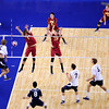 Tanner Janser (1) roofs the ball during set 1 of the 2012 NCAA Men's Volleyball National Championship game between the University of Southern California and UC Irvine at the USC Galen Center in Los Angeles on May 5, 2012.  (AP Photo/Pierson Clair)