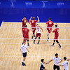 USC Men's Volleyball players celebrate during set 1 of the 2012 NCAA Men's Volleyball National Championship game between the University of Southern California and UC Irvine at the USC Galen Center in Los Angeles on May 5, 2012.  (AP Photo/Pierson Clair)