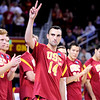 Before set 1 of the 2012 NCAA Men's Volleyball National Championship game between the University of Southern California and UC Irvine at the USC Galen Center in Los Angeles on May 5, 2012.  (AP Photo/Pierson Clair)