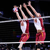 USC seniors Steven Shandrick (18) and Tony Ciarelli (14) block a Lewis spike during set 1 of the 2012 NCAA Men's Volleyball National Championship Semifinal game between the University of Southern California and Lewis University at the USC Galen Center in Los Angeles on May 3, 2012. The winner will advance to play UC Irvine in the championship game to be played Saturday May 5, 2012. (AP Photo/Pierson Clair)