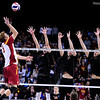 USC's Steven Mochalski (8) prepares to spike the ball against Lewis University during set 1 of the 2012 NCAA Men's Volleyball National Championship Semifinal game between the University of Southern California and Lewis University at the USC Galen Center in Los Angeles on May 3, 2012. The winner will advance to play UC Irvine in the championship game to be played Saturday May 5, 2012. (AP Photo/Pierson Clair)