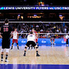 Game action during set 1 of the 2012 NCAA Men's Volleyball National Championship Semifinal game between the University of Southern California and Lewis University at the USC Galen Center in Los Angeles on May 3, 2012. The winner will advance to play UC Irvine in the championship game to be played Saturday May 5, 2012. (AP Photo/Pierson Clair)