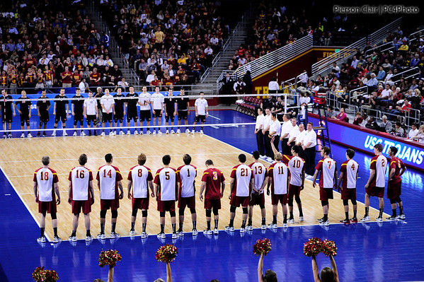 during set 1 of the 2012 NCAA Men's Volleyball National Championship Semifinal game between the University of Southern California and Lewis University at the USC Galen Center in Los Angeles on May 3, 2012. The winner will advance to play UC Irvine in the championship game to be played Saturday May 5, 2012. (AP Photo/Pierson Clair)