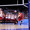 USC libero J.B. Green (3) receives the ball as Tony Ciarelli (14) looks on during set 1 of the 2012 NCAA Men's Volleyball National Championship Semifinal game between the University of Southern California and Lewis University at the USC Galen Center in Los Angeles on May 3, 2012. The winner will advance to play UC Irvine in the championship game to be played Saturday May 5, 2012. (AP Photo/Pierson Clair)