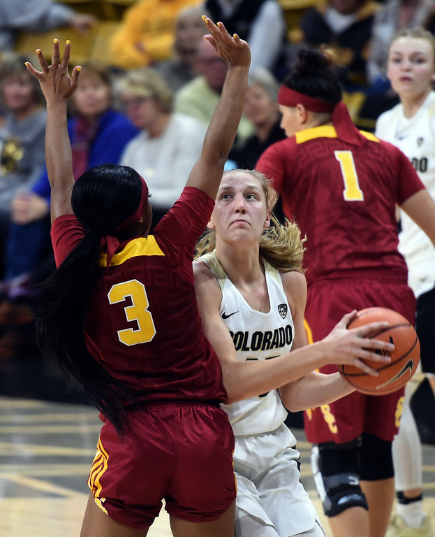 . Annika Jank, of CU, tries to get around Minyon Moore, of USC, during the game on January 12, 2018.  Cliff Grassmick / Staff Photographer/ January 6, 2018
