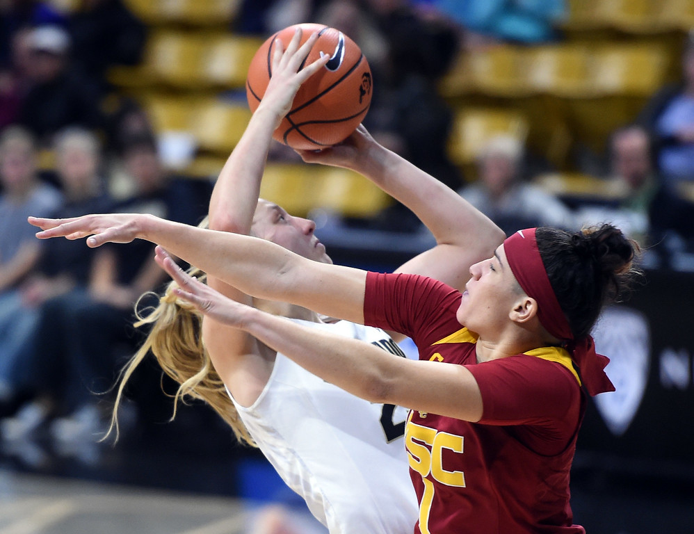 . Annika Jank, of CU, shoots past Jordan Adams, of USC, during the game on January 12, 2018.  Cliff Grassmick / Staff Photographer/ January 6, 2018