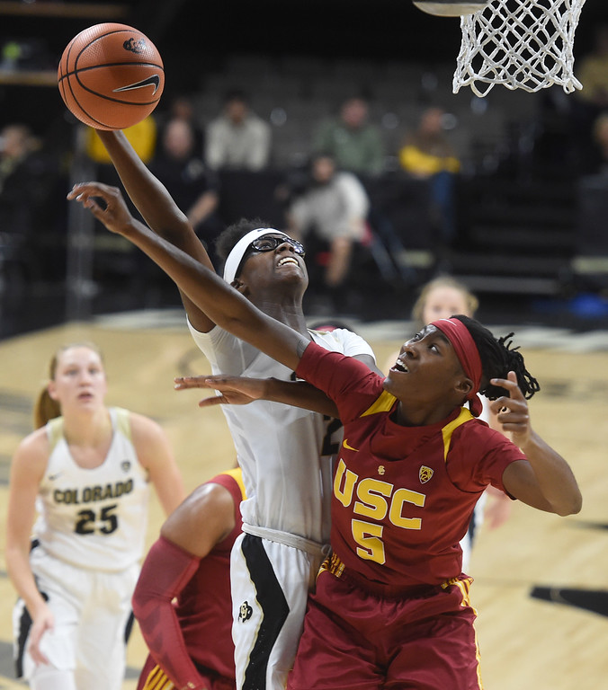 . Mya Hollingshed, of CU, shoots past Ja\'Tavia Tapley, of USC, during the game on January 12, 2018.game on January 12, 2018.  Cliff Grassmick / Staff Photographer/ January 6, 2018