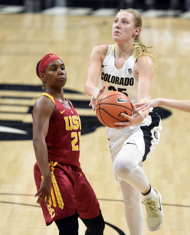 . Annika Jank, of CU, gets around Aliyah Mazyck, of USC during the game on January 12, 2018.  Cliff Grassmick / Staff Photographer/ January 6, 2018