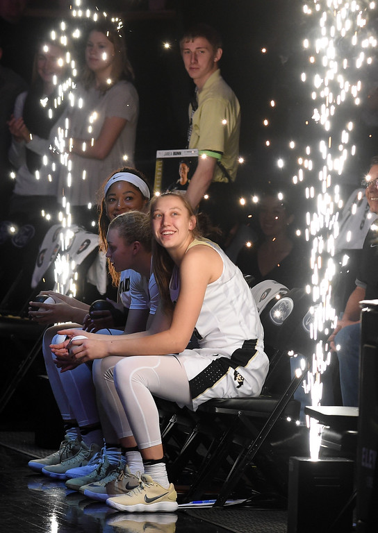 . Annika Jank enjoys the fireworks during the player introductions during the game on January 12, 2018.  Cliff Grassmick / Staff Photographer/ January 6, 2018