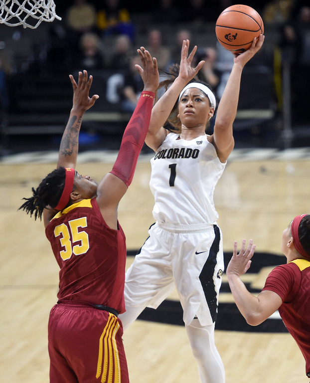 . Janea Bunn, of CU, shoots over Kristen Simon, of USC, during the game on January 12, 2018.  Cliff Grassmick / Staff Photographer/ January 6, 2018