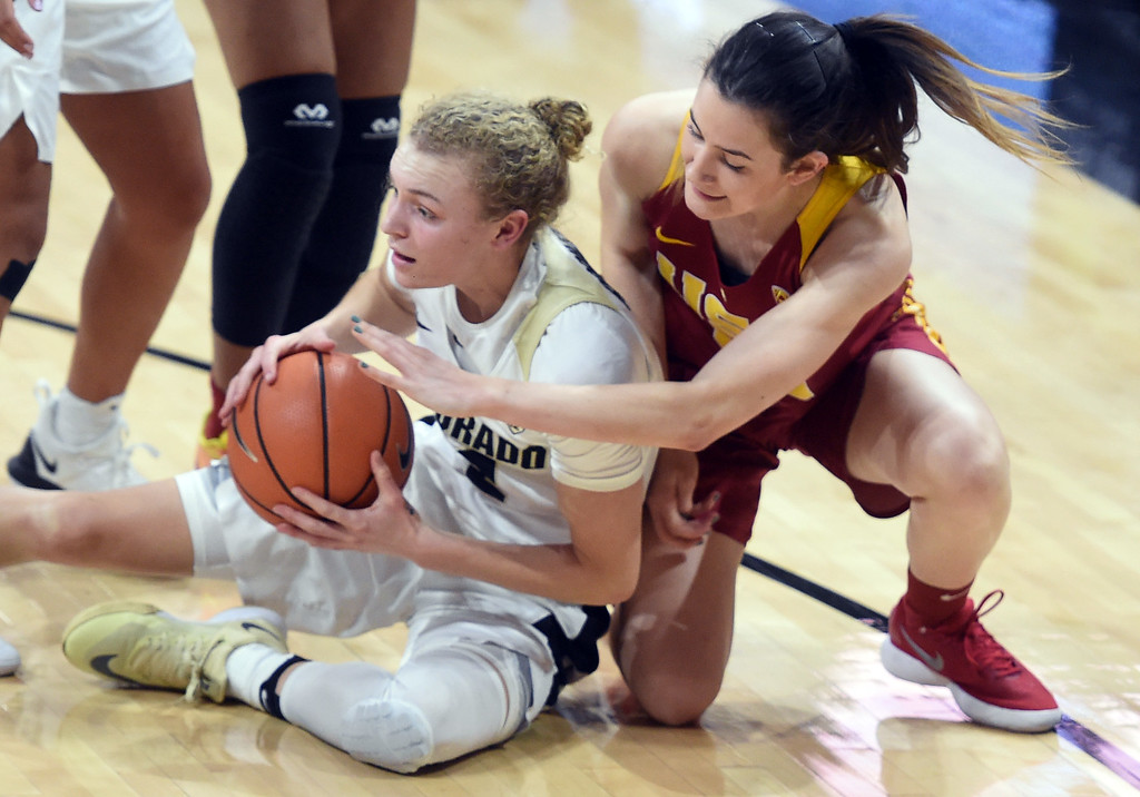 . Alexis Robinson, of CU, keeps the ball from Candela Abejon, of USC, during the game on January 12, 2018.  Cliff Grassmick / Staff Photographer/ January 6, 2018