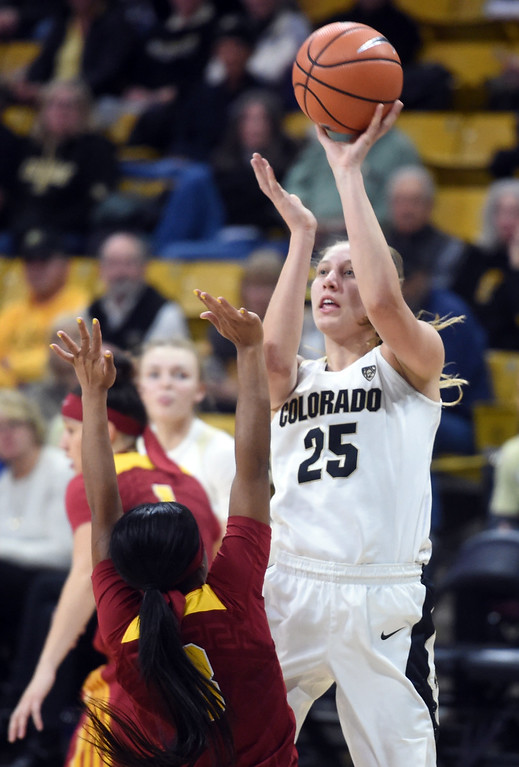 . Annika Jank, of CU, shoots over Minyon Moore, of USC, during the game on January 12, 2018.  Cliff Grassmick / Staff Photographer/ January 6, 2018