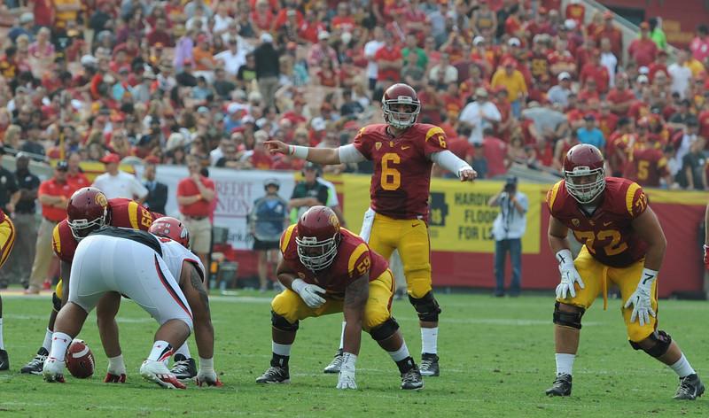 USC Trojans play the University of Utah Utes at the Los Angeles Memorial Coliseum, Saturday, October 26, 2013.