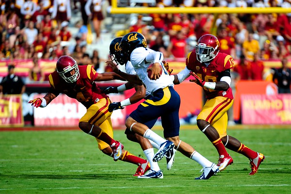 No. 4, Torin Harris and No. 18, Dion Bailey on defense during the game between the USC Trojans and the Cal Golden Bears at the Coliseum in Los Angeles, CA on September 22, 2012.