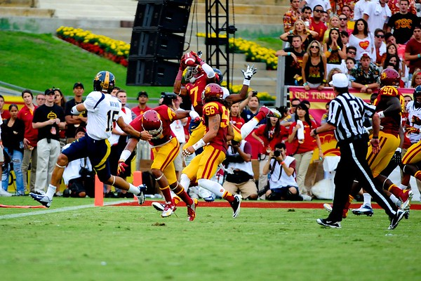 No. 7, T.J. McDonald with the interception during the game between the USC Trojans and the Cal Golden Bears at the Coliseum in Los Angeles, CA on September 22, 2012.
