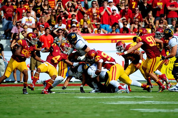during the game between the USC Trojans and the Cal Golden Bears at the Coliseum in Los Angeles, CA on September 22, 2012.