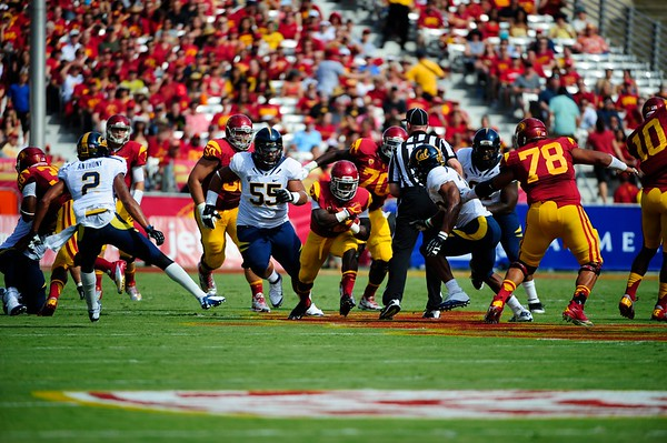 No. 22, Curtis McNeal with the ball during the game between the USC Trojans and the Cal Golden Bears at the Coliseum in Los Angeles, CA on September 22, 2012.