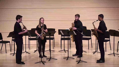 """Mountain Roads"" I. Overture David Maslanka  Jonathan Kierspe, soprano saxophone Celeste Terry, alto saxophone Justyn P. Davis, tenor saxophone Michael Gore, baritone saxophone"