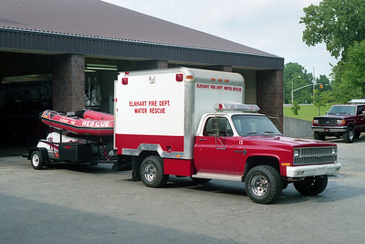 ELKHART FD IN  RESCUE 12  1981  CHEVY - 1987  UTILIMASTER   WATER RESCUE WITH BOATS