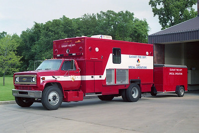 ELKHART FD IN  RESCUE  1988  CHEVY - UTILIMASTER   HIRT TEAM WITH TRAILER