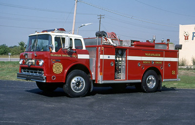 FRANKLIN TOWNSHIP FD - WANNAMAKER IN  ENGINE 51  1986  FORD C - INDIANA FIRE & RESCUE   500-500    MARK MITCHELL PHOTO
