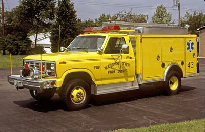 WARREN TOWNSHIP FD - INDIANAPOLIS IN  SQUAD 43  1986  FORD F - INDIANA FIRE APPARATUS   GLENN VINCENT PHOTO