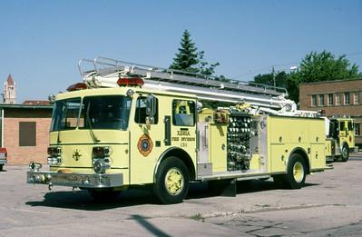 XENIA FD OH  ENGINE  1991  DUPLEX - INDIANA FIRE APPARATUS   1250-500-50' TSQT   X- HENDRICKSON PIERCE       LEO PHOTO