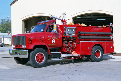 RICHMOND BUREAU OF FIRE  FOAM TRUCK 21  1984  GMC TOP KICK   1250-0-1000F