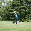 Seung Yul Noh, ranked in the top 100 of the World Golf Rankings, hits his tee shot to the par 3 16th.