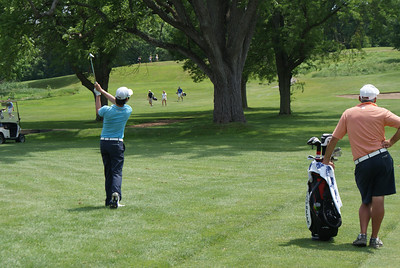 Seung Yul Noh hits his approach to the par 4 4th at Springfield CC.