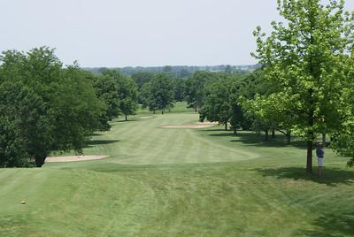 The second hole at Springfield CC, 502 yard par 4 (par 5 for members).