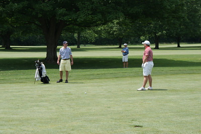 Rob Chappell, former A-10 Champ at UD, talks over his club selection at the par 4 4th at Springfield CC.