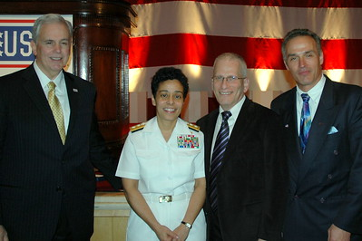 Mike Hallissy ( BAE Systems) Rear Admiral Michelle Howard (USN), Isaac Michalowski & Cort Millar (BAE Systems)
