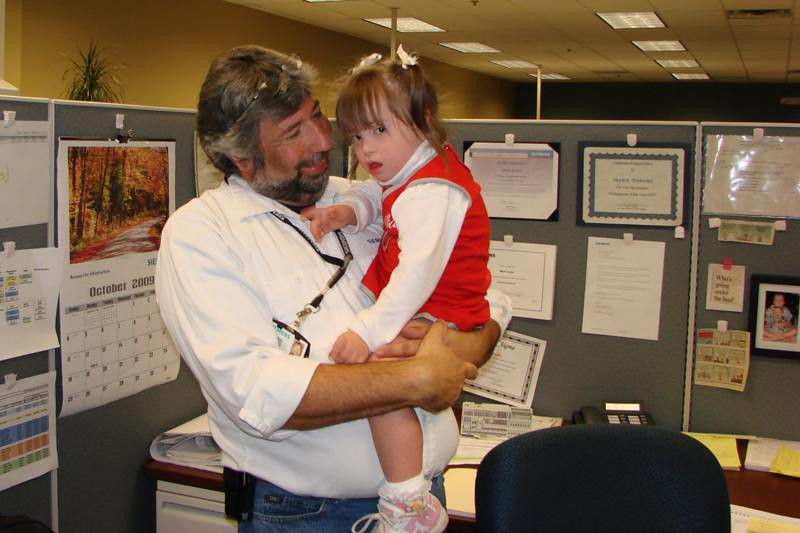 Oct 2009 Dani came to Siemens to help her dad Marc at work in their Dress Down for Down Syndrome Day.  Thanks to everyone at Siemens for doing so much! (hint for next year, get there early before all of Marc's chili is gone!!!)