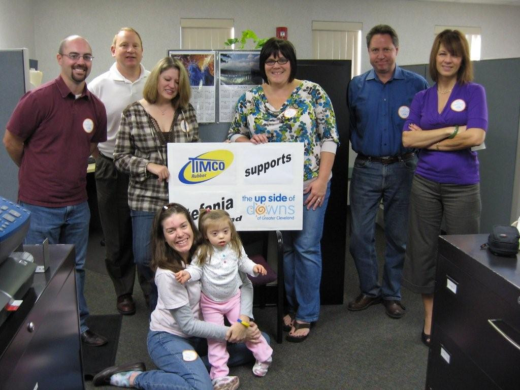 Oct 2009 - Stefania came to Timco Rubber Products to help her mom Becky at work in their Dress Down For Down Syndrome Day.  Thanks to everyone at Timco for celebrating life with Down Syndrome!