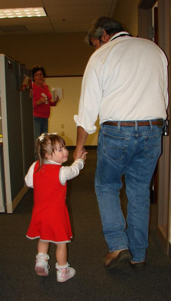 Oct 2009 -  Dani came to Siemens to help her dad Marc at work in their Dress Down for Down Syndrome Day.  Thanks to everyone at Siemens for doing so much!  (hint for next year, get there early before all of Marc's chili is gone!!!)