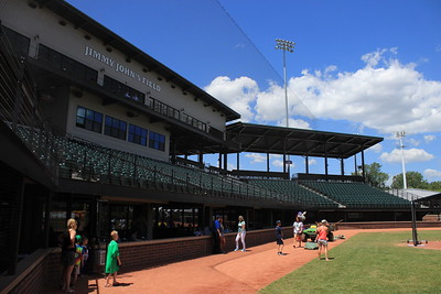 An on-field view of the ballpark suites and stadium seating. The Founder's Level suites can be seen above the deck.