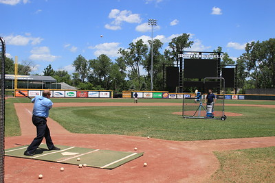 Jeff Payne, the Macomb Daily's Local News Editor, takes batting practice.