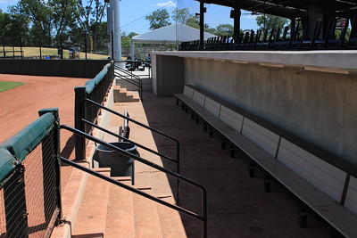 The first-base side dugout and the Summer Picnic Area behind.