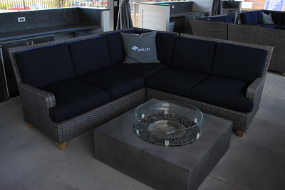 Visitors to the Cabana Suites can lounge, enjoy drinks and food, and even warm themselves by a firepit.