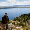 Hiker on Inspiration Point overlooking Jenny Lake